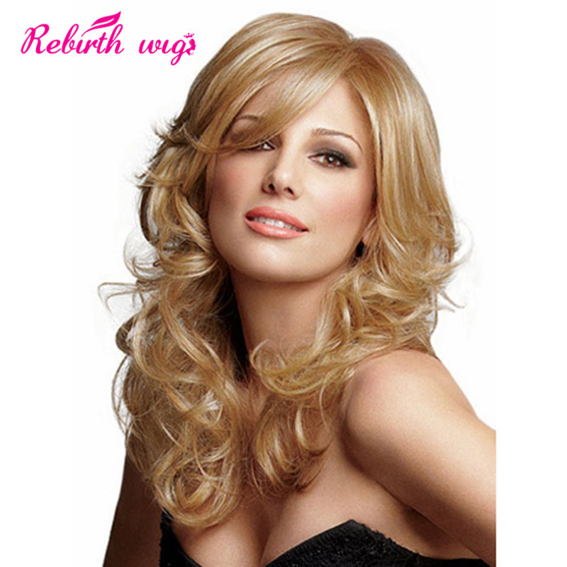 Long Blonde Wigs Loose Wavy Hairstyle Heat Resistant Synthetic Hair