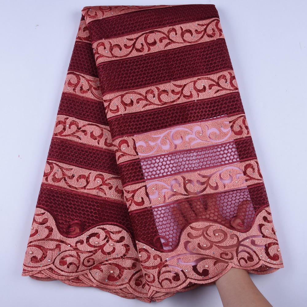 Latest African Lace Fabric 2019 High Quality Lace Wine Nigerian Net Lace Fabrics For Party French