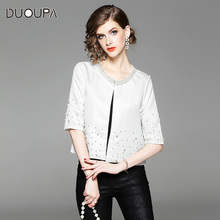 цена на DUOUPA White Office Lady Solid Pearl Embellished  Round Neck Jacket Autumn Workwear Casual Women Coat And Outerwear