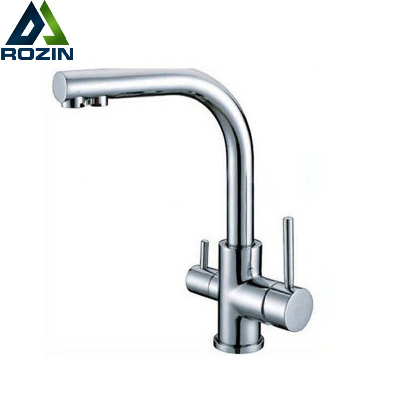 Kitchen Faucet Purified Water Purification Faucets Deck: Chrome Brass Pure Water Filter Kitchen Faucet Deck Mounted