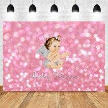Baby Shower Backdrop Heaven Sent Little Princess Photography Backdrops Newborn Glitter Bubble Fairy Photo Background