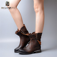 Prova Perfetto 2018 Winter Thick Heel Woman Martin Boots Genuine Leather British Style with Zipper Motorcycle Boots for Woman