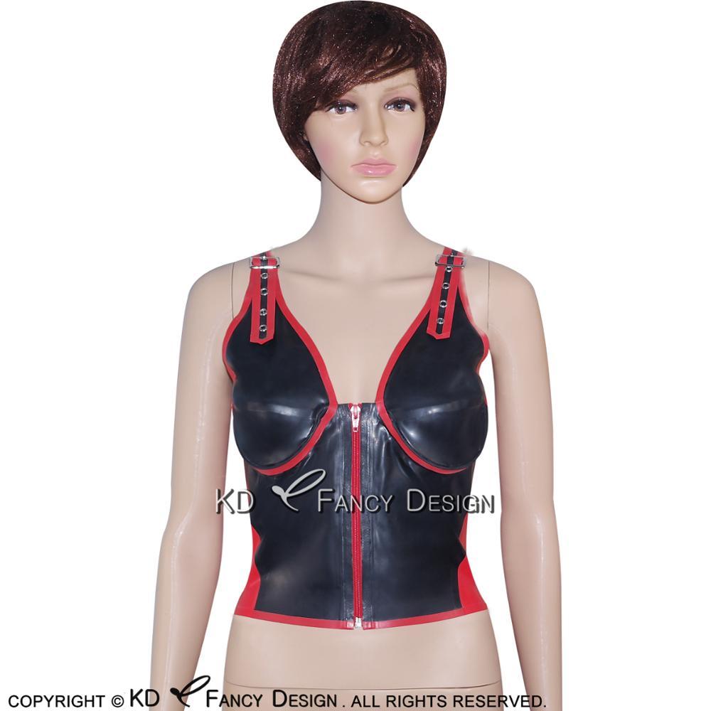Noir avec garnitures rouges Sexy Latex chemise haute avec ceintures fermeture éclair à l'avant en caoutchouc sous-vêtements vêtements YF-0020
