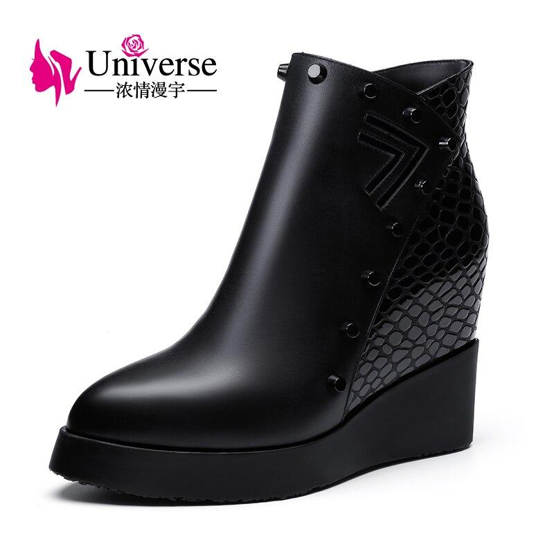 Kobiety prawdziwej skóry klinu pięty kostki buty wszechświat platformy ciepłe pluszowe zwiększona wewnętrzna buty na wysokim obcasie buty zimowe C201 w Buty do kostki od Buty na  Grupa 1