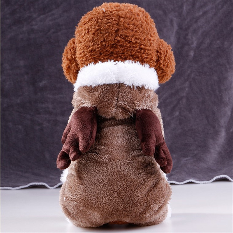 2017 New Fashion Fleece Pet Dog Clothes for Small Dog Christmas Elk Christmas Pet Thick Pet Clothing Pet Jacket (brown)