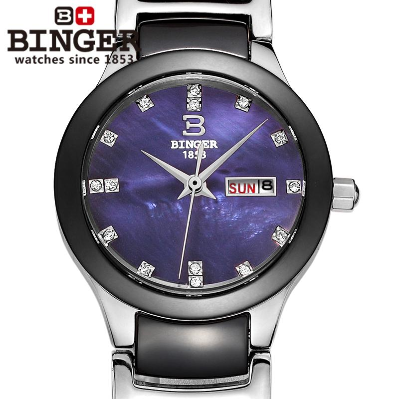 0b94a78d747e Suiza Binger relojes de pulsera de cerámica mujeres relojes de moda reloj  de cuarzo rhinestone 100 M resistencia al agua B-8007-2