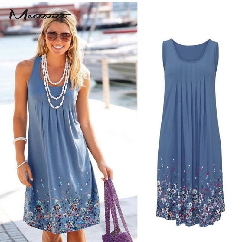 MEETCUTE Top Fashion Floral Print Sleeveless Beach Dress for Pregnant Women O Neck Casual Plus Size Maternity Sundress
