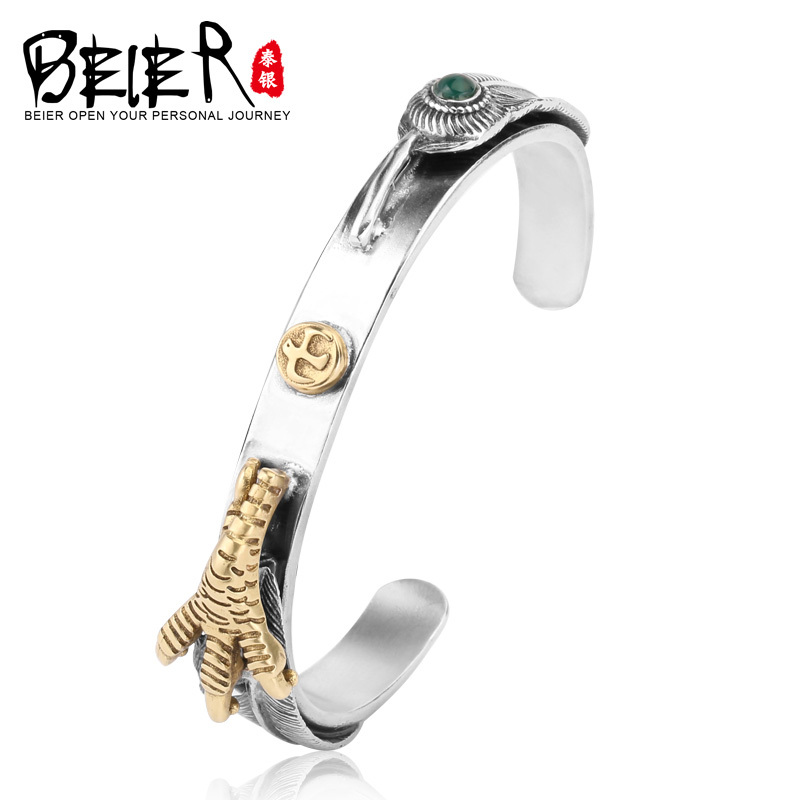 Beier 925 Sterling Silver Bangles  romantic top quality punk bird green gem Bracelet for man and women   BR925SZ066Beier 925 Sterling Silver Bangles  romantic top quality punk bird green gem Bracelet for man and women   BR925SZ066