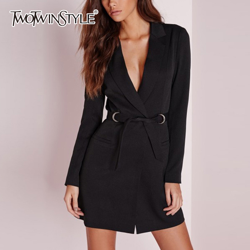TWOTWINSTYLE V Neck Women's Blazer Belts High Waist Plus Size Long Sleeve Midi Coat Female 2020 Spring Slim Fashion Clothing
