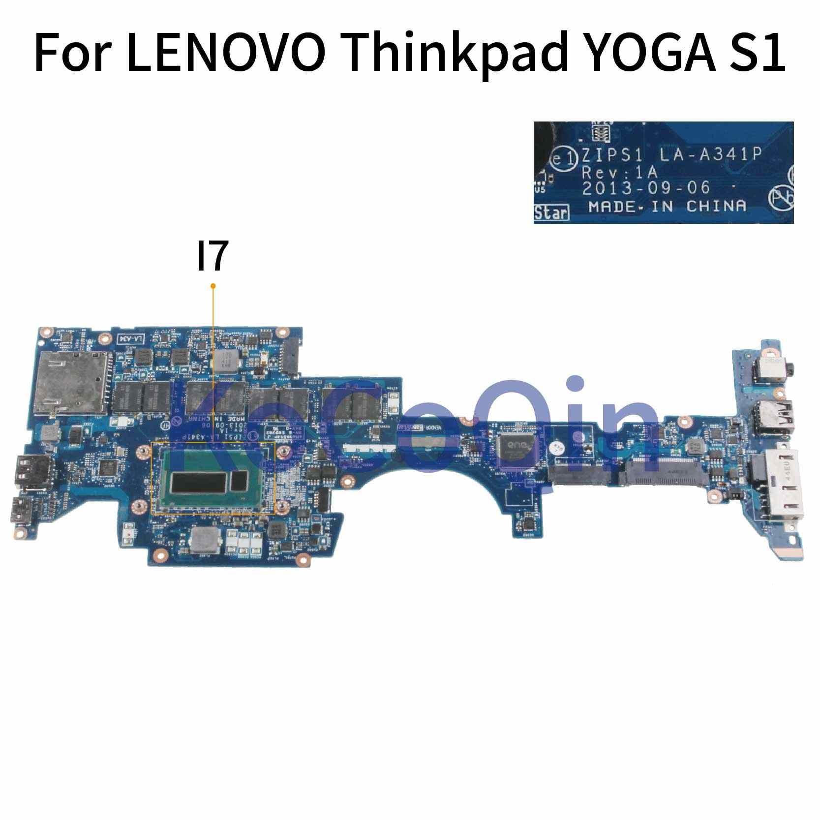 KoCoQin Laptop Cho LENOVO ThinkPad YOGA S1 I7-4500U 8G Mainboard 04X5239 00HT135 04X5240 00HT133 ZIPS1 LA-A341P