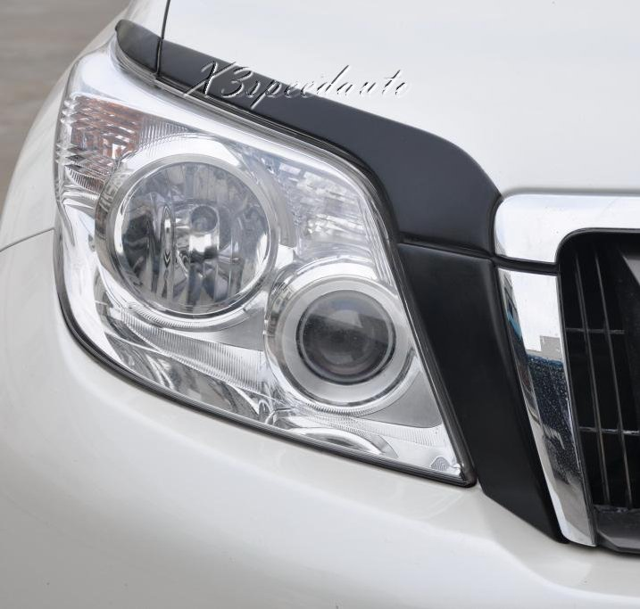 6*Front Head Light Lamp Eyelid Cover Trim Fit For Toyota Prado FJ150 2010-2013