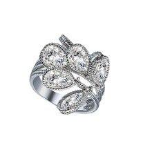font b Cheap b font Promotional 1pc White Charming Silver Color CZ Woman Wedding Band