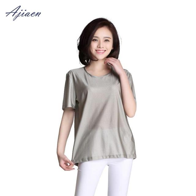 Genuine Electromagnetic radiation protection 100% silver fiber T shirt protect body health EMF shielding short sleeved shirt
