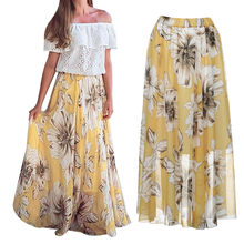 Womail Frauen Rock Sommer Mode Floral Jersey Gypsy Lange Maxi Voller Rock Strand Sonne Druck Rock Täglichen Casual 2019 dropship f10(China)