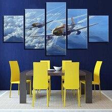 e767f36c7c La lona HD imprime la pared del arte abstracto cuadros marco 5 unidades aviones  avión de la vendimia pintura salón decoración pa.