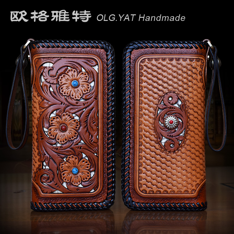 OLG YAT handmade wallet women handbag Vegetable tanned leather women wallets long zipper Hand carved bag