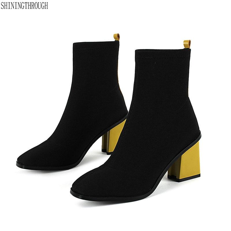 Nuovo tessuto elasticizzato stivali della caviglia delle donne punta quadrata tacchi alti stivali vestito delle signore della donna scarpe da sera donna nero rosso gialloNuovo tessuto elasticizzato stivali della caviglia delle donne punta quadrata tacchi alti stivali vestito delle signore della donna scarpe da sera donna nero rosso giallo