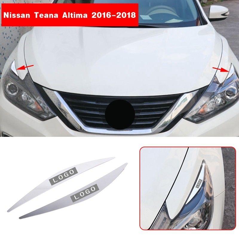 2018 For Honda Accord Car Head Lights Lamp Eyebrow Eyelid Garnish Cover Trim 2PC