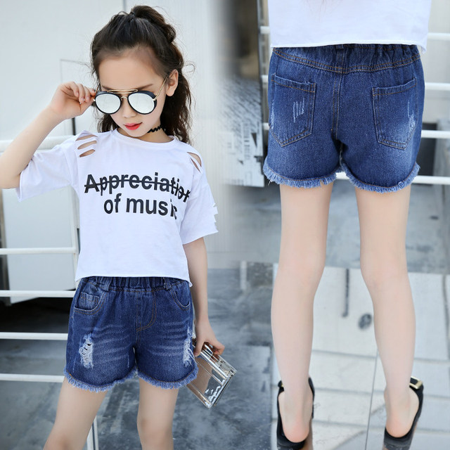 2a713e8b6 2019 Summer New Korean Fashion Girls Solid Denim Shorts Hot Short Jeans  Pants Children Cotton Denim Shorts With Tassel