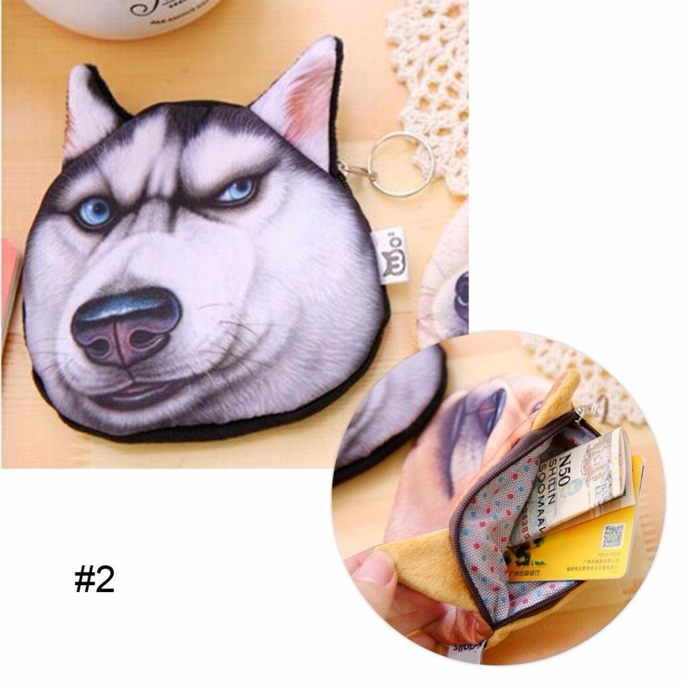 Unisex Cute Animal Cartoon 3D Cat / Dog Face Bag Coin Change Purse Case Wallet Change Pocket Ladies Workmanship Change Purse 2016 new cute portable cartoon bag change case plush purse handbag girls cute goody animal round coin change wallet wholesale
