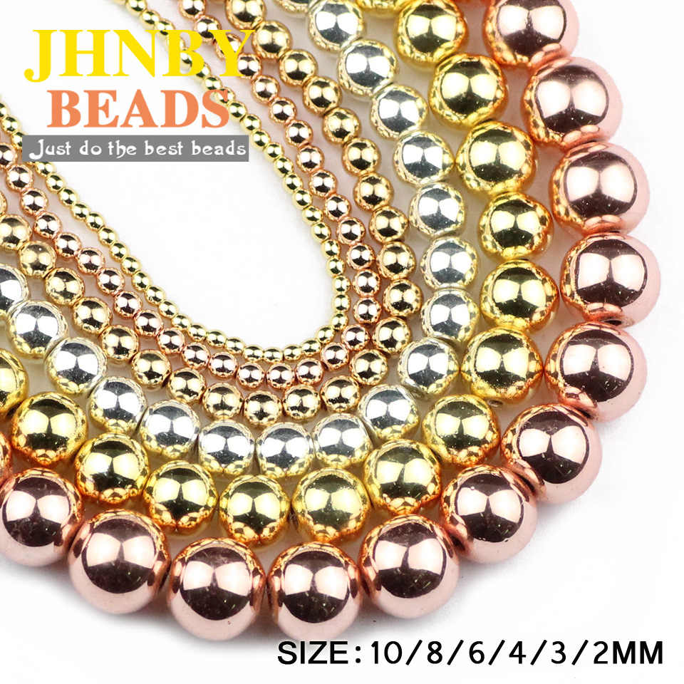 JHNBY Rose Gold,Gun Black,Silver,Round Hematite beads Natural Stone 2~10mm Loose beads Jewelry bracelet&necklace DIY Accessories