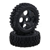 Mxfans 11 7 X 4 2cm Prism Shaped 5 Hole Black RC Rubber Tires And Plastic
