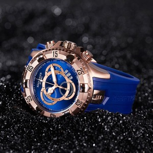 Image 4 - Reef Tiger/RT TOP ยี่ห้อ Luxury SPORT นาฬิกาผู้ชาย Rose Gold นาฬิกาสีฟ้าสายยางแฟชั่นนาฬิกา Reloj hombre RGA303 2