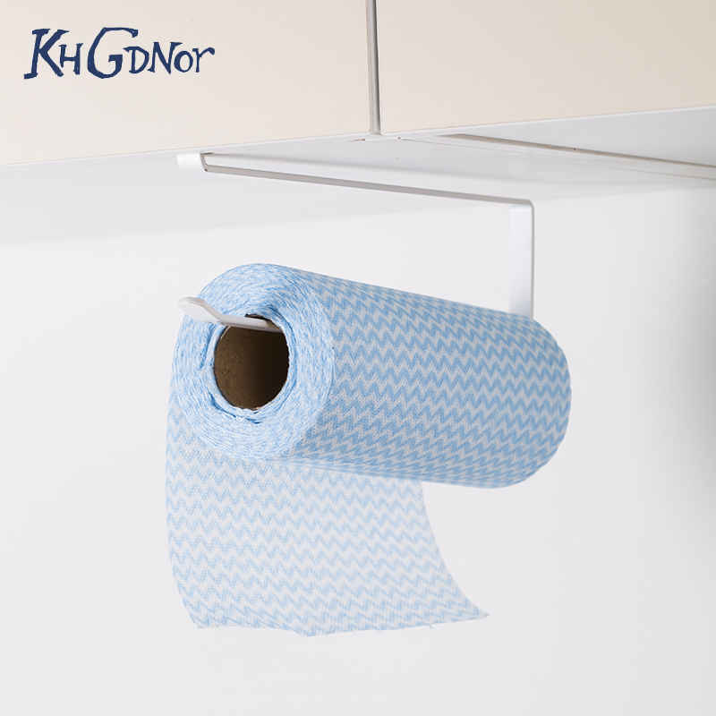 KHGDNOR Iron Roll Paper Rack Kitchen Cupboard Hanging Paper Towel Holder Rack Tissue Cling Film Storage Rack