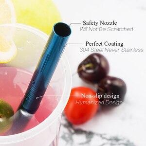 Image 3 - Красочные 304 соломинки многократного использования из нержавеющей стали прямая изогнутая металлическая трубочка для напитков с чистящей щеткой, вечерние принадлежности