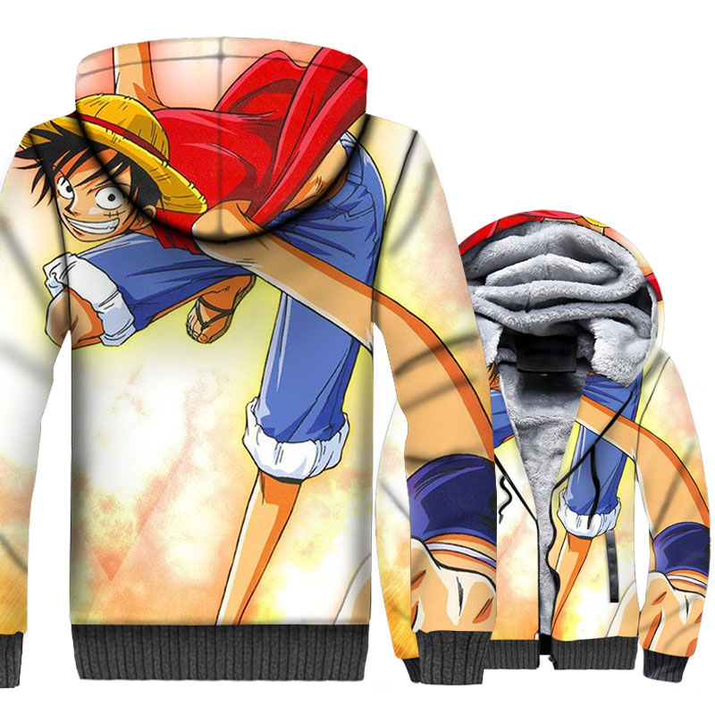 One Piece Luffy 3D Hoodies Men The Pirate King Jackets Hipster Sweatshirts Thick Fleece Harajuku Anime Coat Cool Sportswear