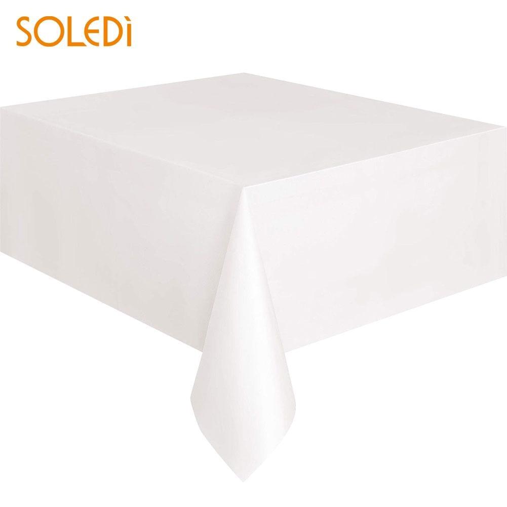 SOLEDI 20 цветов мягкий настольный бегун скатерть пластиковые товары для дома одноразовая скатерть для стола украшение стола - Цвет: Белый