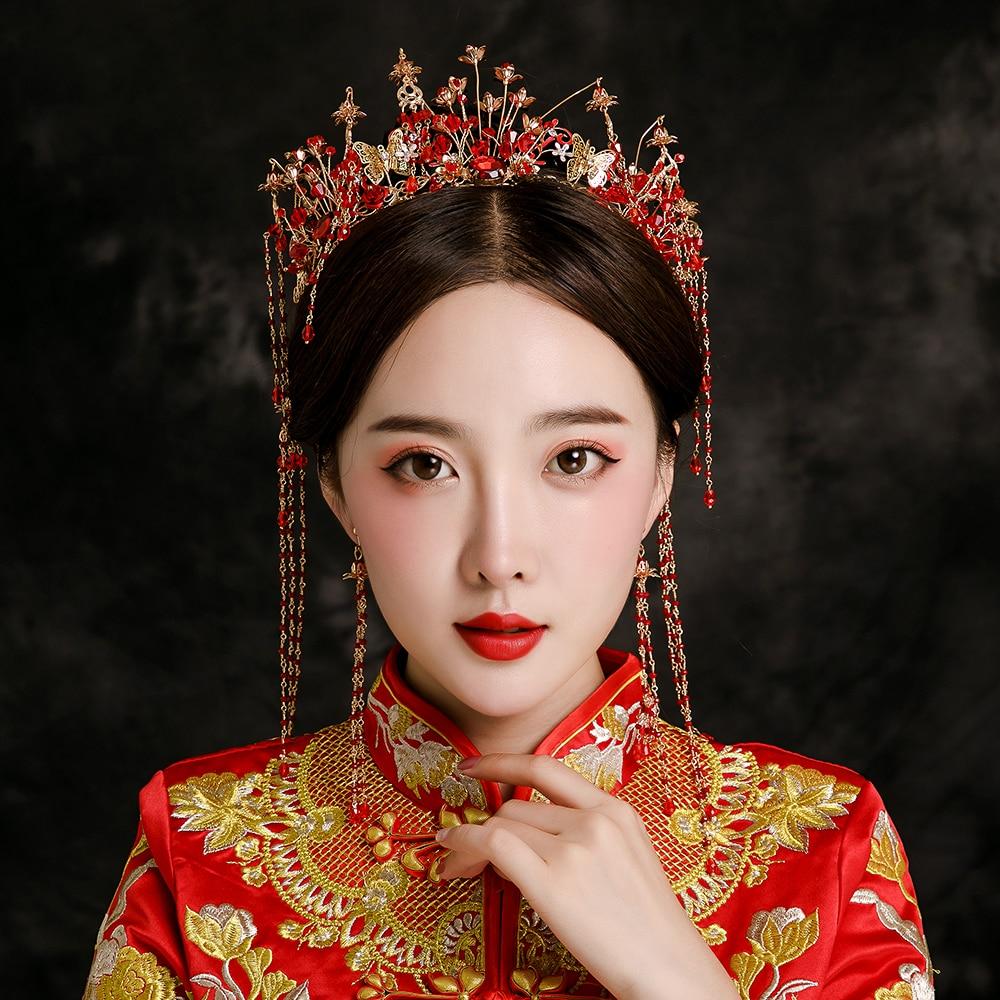 Red Beaded Headband Ancient Chinese Bridal Wedding Hair Jewelry Tassel Headdress Women Costume Headwear Ornament Drop Earrings цена