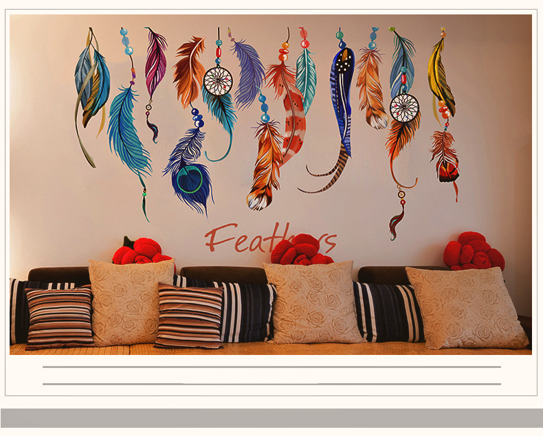 Lucky flying feathers wall stickers colorful room for Creative mural art