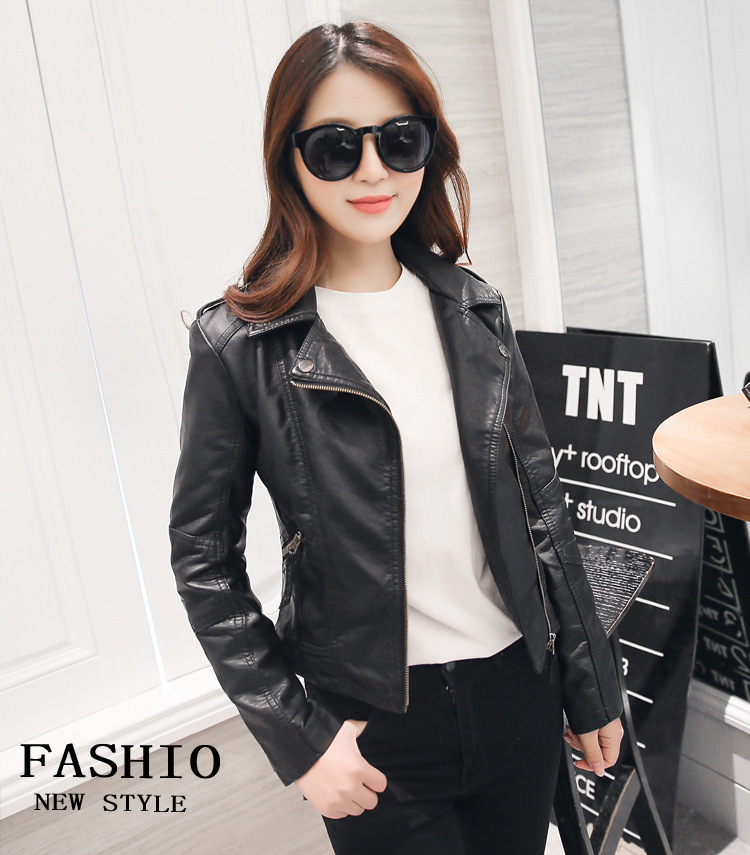 HTB130mfdi6guuRjy1Xdq6yAwpXa5 XS-4XL Hot Sale 2019 New Women Spring Autumn Jacket Black/Red Fashion Female Coat Slim PU Leather Short Outwear Jacket Plus Size