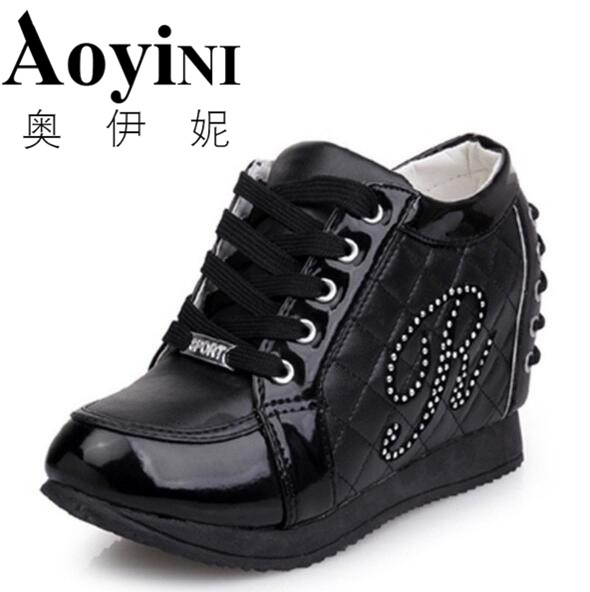 Hot Sales New 2017 Spring Black White Hidden Wedge Heels Casual Shoes Womens Elevator High-heels boots For Women Rhinestone