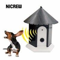 Nicrew ultrasonic مكافحة نباح الياقات كلب مبيد الهواء الكلب توقف لا النباح تدريب مدرب جهاز الإمدادات