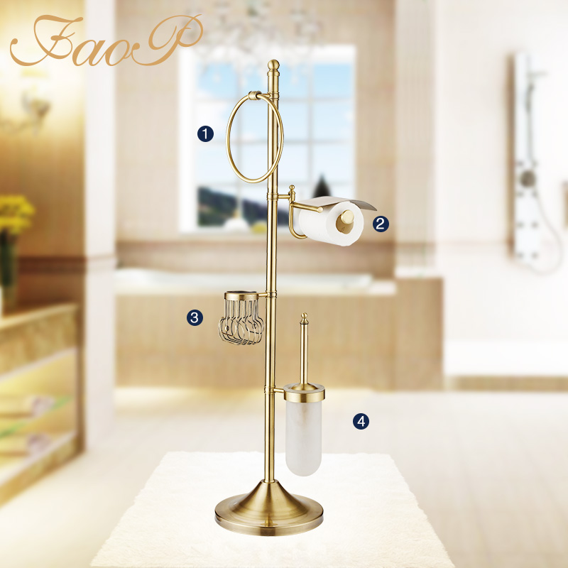 FAOP bathroom Toilet Brush Holders Gold Antique brass Towel Ring Roll Bath Hardware Sets Paper Hanger Paper Holders Bath towel