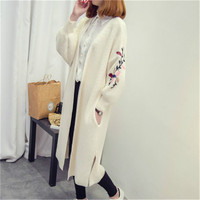 2017 Autumn Winter Women Sweater Embroidery Long Cardigan Loose Knitted Sweater Cardigans For Women Knitted Jacket