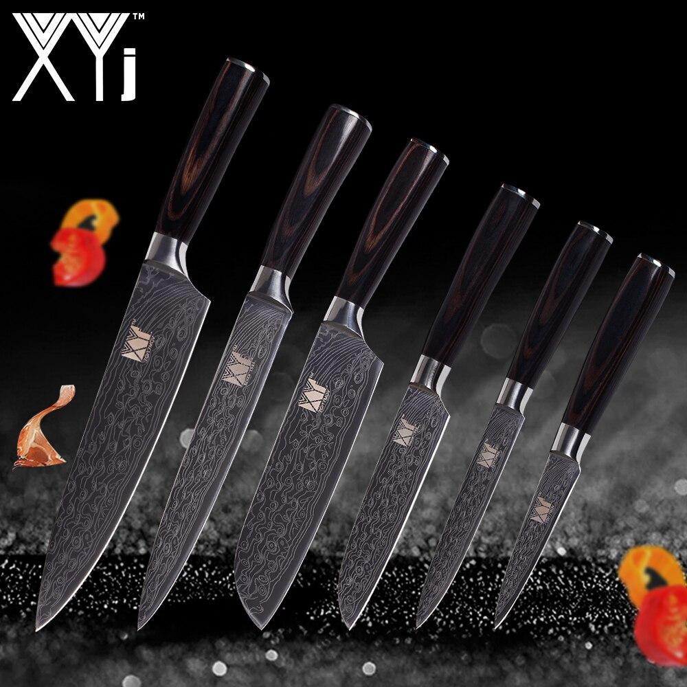 XYj Дамаск вен кухонные ножи для очистки овощей утилита 2 * Santoku нарезки шеф повар цвет деревянной ручкой нержавеющая сталь нож