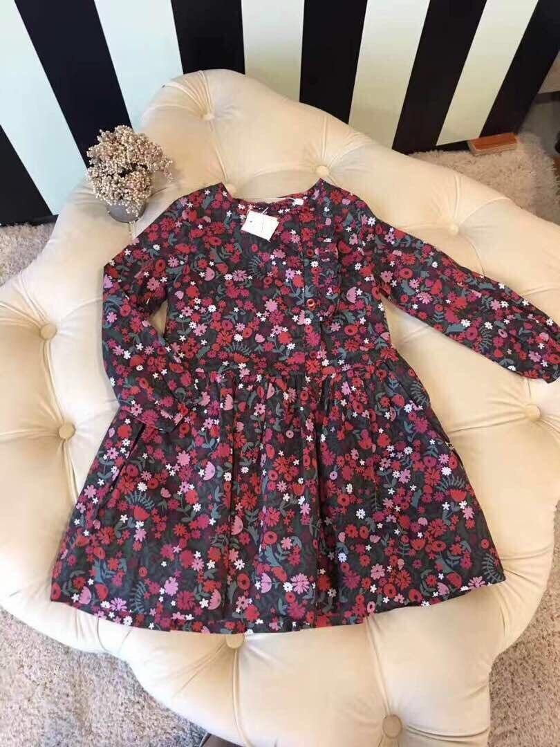 Baby Girls Dress Long Sleeve Fashion 2017 Autumn Toddler Girl Dresses Cotton  A-Line Flower Pattern Baby Girls Fashion Dress toddlers girls dots deer pleated cotton dress long sleeve dresses