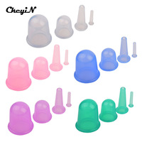 4PCS SET Family Body Massage Helper Anti Cellulite Silicone Vacuum Cupping Cups Neck Face Back