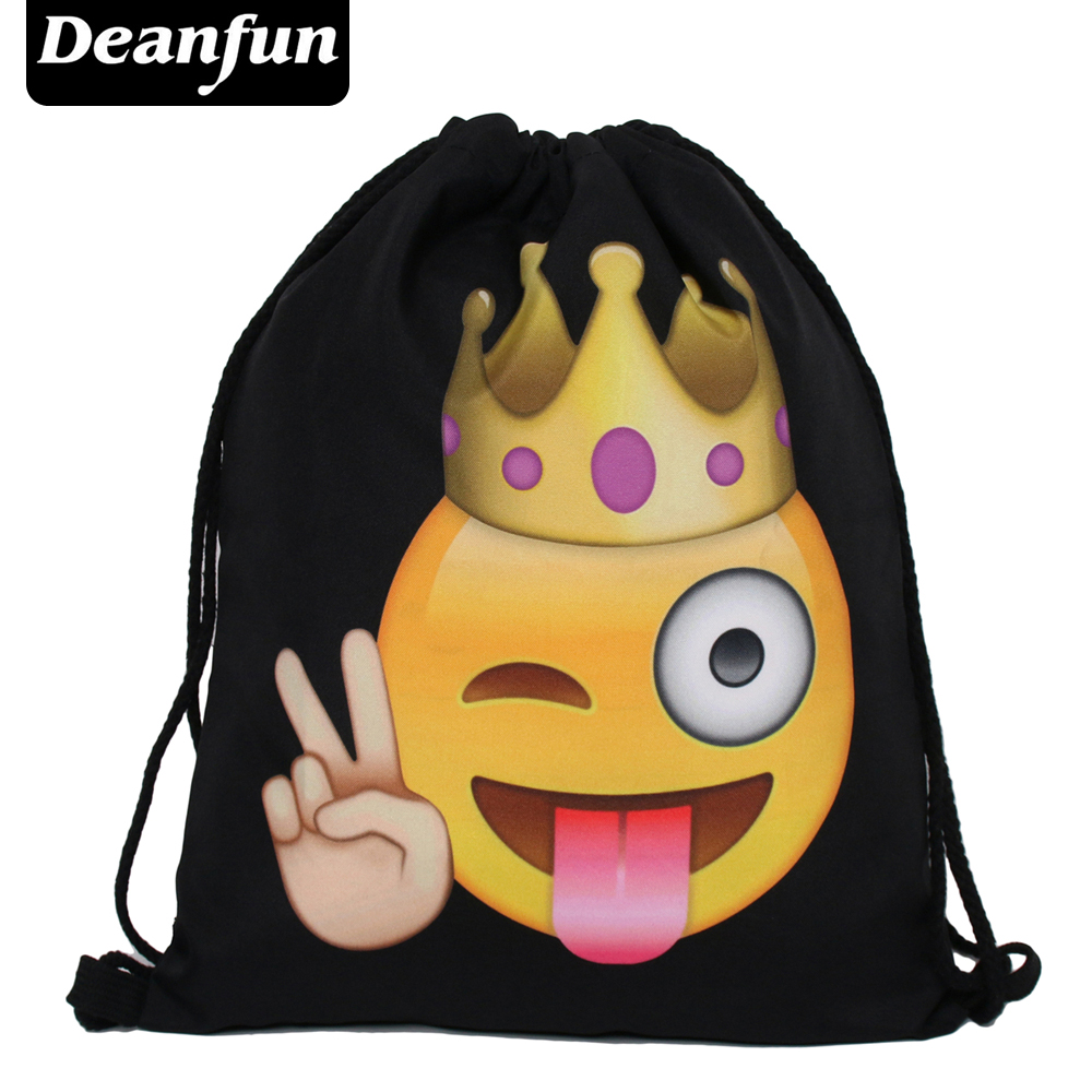 Deanfun Emoji Backpack New Fashion Women Backpacks 3D Printing Bags Drawstring Bag For Men S58 makorster fashion letter pattern women backpack bag drawstring bagpacks canvas backpacks cheap printing feminine backpack mk232