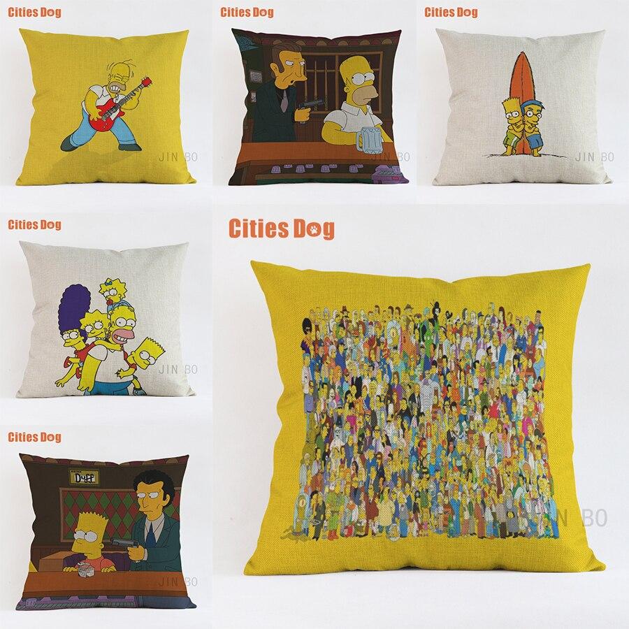 pillows cushion cover Nordic decorative video cartoon Simpsons linen sofa pillow new Year gift pillowcase almofada cojines