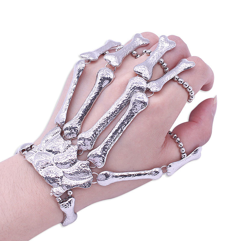 Gothic Punk Skull Finger Bracelets For Women Nightclub Skeleton Bone Hand Finger Flexible Bracelets Bangles Halloween Gift