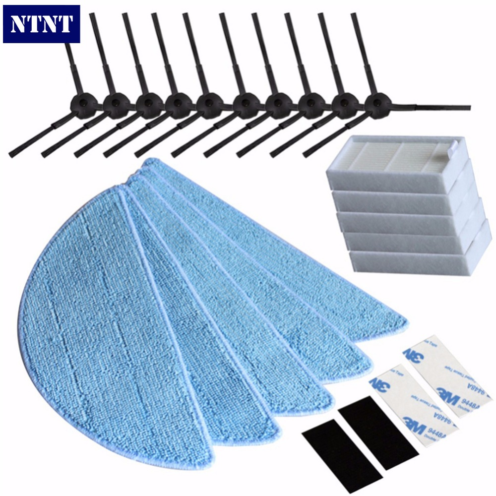 NTNT 10side Brush+5hepa Filter+5Mop Cloth+4*Velcro for chuwi ilife v5s ilife v5 pro ilife x5 V3+V5 V3 v5pro vacuum cleaner parts бра reccagni angelo a 6402 1