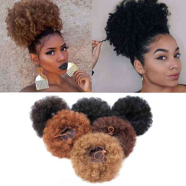 1 Pza 6 ''8'' corto Afro Puff rizado Cola de Caballo cordón Clip en la extensión del pelo sintético rizado