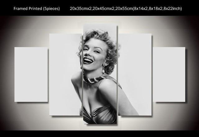 5 Pcs/Set Framed HD Printed Black White Marilyn Monroe Star Wall Art ...