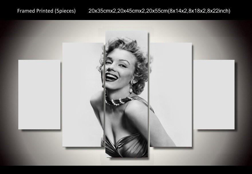 5 Teile/satz Gerahmte HD Gedruckt Schwarz Weiß Marilyn Monroe Sterne ...