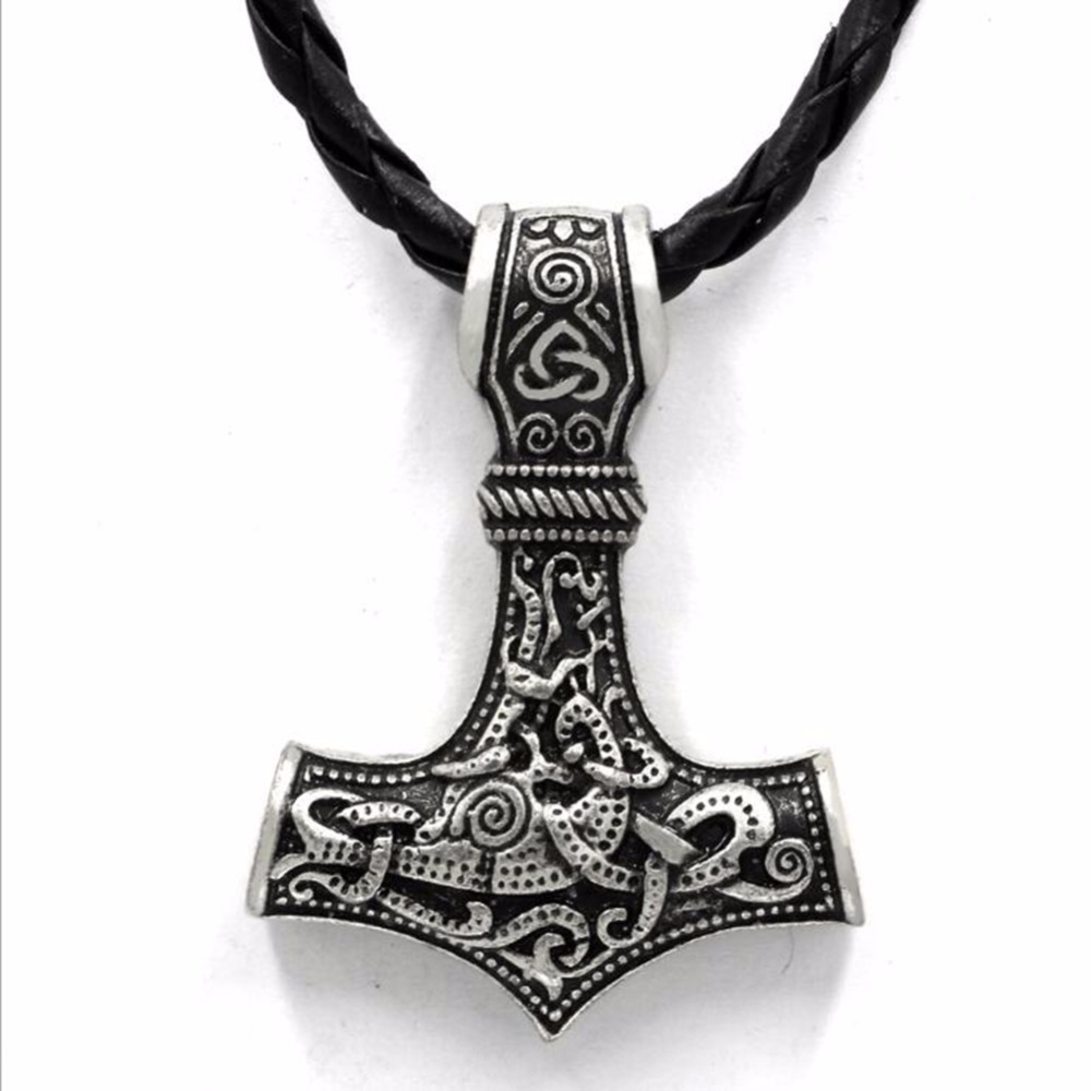 dropshipping thors hammer Mjolnir pendant necklace viking scandinavian norse viking necklace For Men gift Jewelry Mens Colar