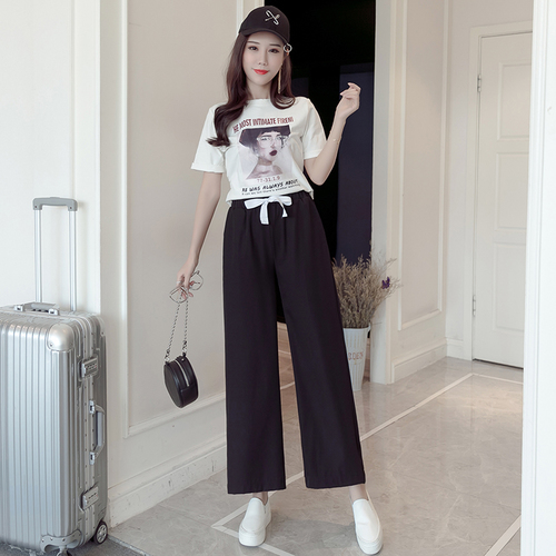 2018 Spring Summer New High Waist Wide Leg Pants Capris Casual Drawstring Trousers For Women Fashion Office Lady Female Pants